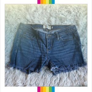 Abercrombie & Fitch Fringe Cut Off Denim Shorts 0